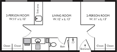 4 person suite with bath - Ellsworth